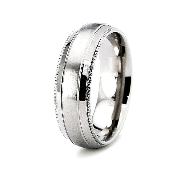 6.5mm Half-Domed Titanium Ring with Satin and Polished Finish (Sizes 6-12)