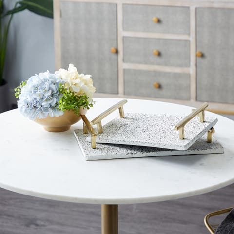 White Ceramic Contemporary Tray (Set of 2) - 16 x 10 x 3