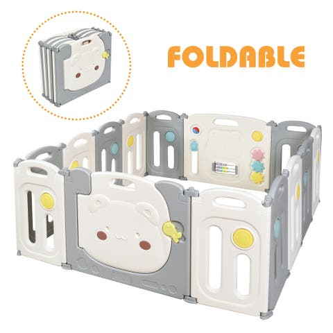 Costway 14-Panel Foldable Baby Playpen Kids Safety Yard Activity