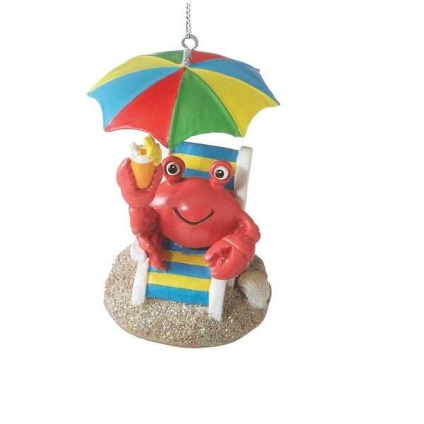 "2.75"" Beach Party Fun Crab on Chair with Umbrella Christmas Ornament"