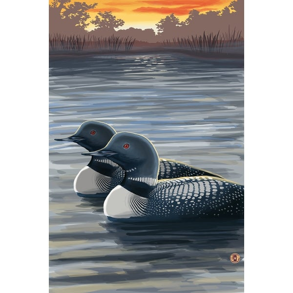 Loons at Sunset - LP Artwork (100% Cotton Towel Absorbent)