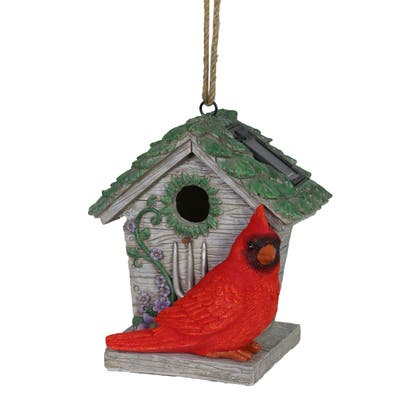 Exhart Solar Cardinal Hanging Bird House, 6 by 8 Inches