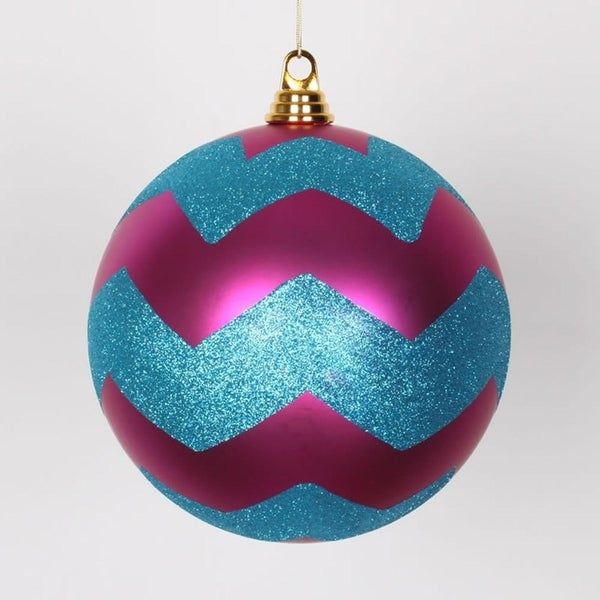 "Cerise Pink Matte w/ Turquoise Blue Glitter Chevron Christmas Ball Ornament 8"" (200mm)"