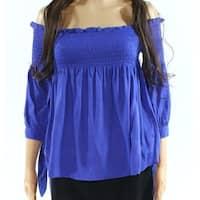 Favlux Blue Womens Size Large L Off Shoulder Tie Sleeve Stretch Top