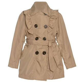 Urban Republic Girls Stone Ruffle Trim Belt Double Breasted Coat