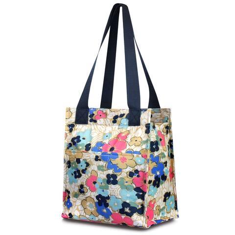 Zodaca Insulated Leak Resistant Lunch Tote Double Handles Carry Zip Closure Bag - Ocean Bloom Flower