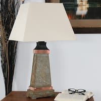 Sunnydaze Indoor-Outdoor Copper Trimmed Slate Table Lamp - Electric - 30-Inch