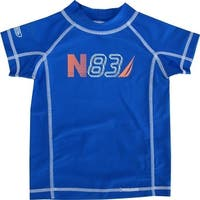 "Nautica Baby Boys Royal Blue ""N83"" Print Rash Guard Swim Shirt 12-24M"