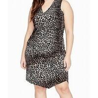 Rachel Rachel Roy Black Womens Size 1X Plus Leopard Sheath Dress