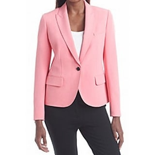 Anne Klein NEW Pink Womens Size 16 Single-Button Notch-Collar Jacket
