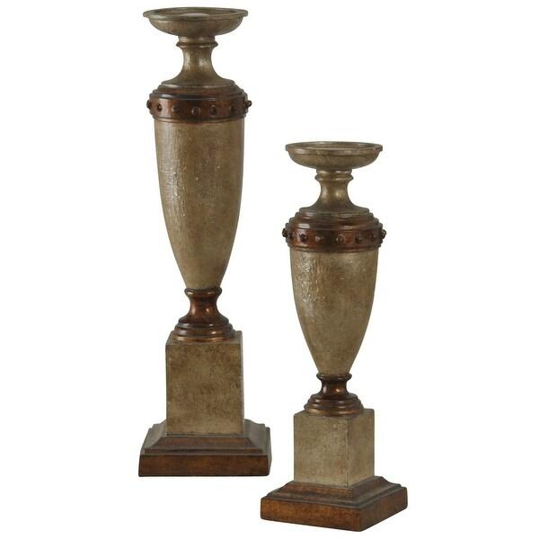 StyleCraft SC-AC321096 Polyresin Pillar Decorative Candle Holders - Set of (2) - Brown