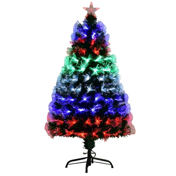 Costway 5Ft Multicolor LED Lights & Stand Pre-Lit Fiber Optic Artificial Christmas - Green