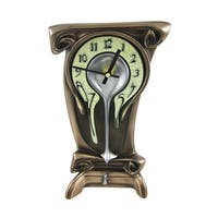 Bronze Finish Melting Mantel Clock Desk Table Dali