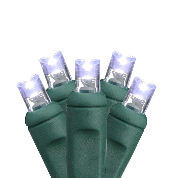 Set of 50 Commercial Cool White Clear LED Wide Angle Christmas Lights Green Wire