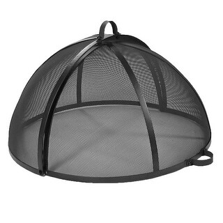 Sunnydaze Easy Access Fire Pit Spark Screen - Multiple Sizes Available - Black