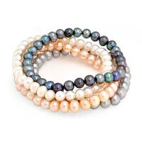 Bling Jewelry Set of 4 Freshwater Cultured Pearl Stretch Bracelets Multicolor - Pink