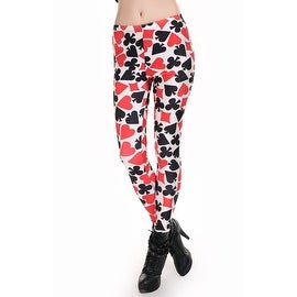 Fashion Lady Pattern Printed Poker Design Stretch Tight Leggings Skinny Pants