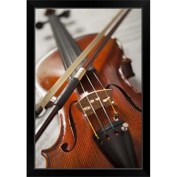 """""""Close-up of violin on sheet music"""" Black Framed Print"""