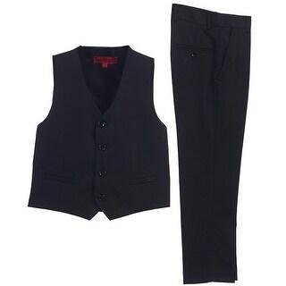 Little Boys Black Vest Pants Special Occasion 2 Pcs Outfit Set 2T-7