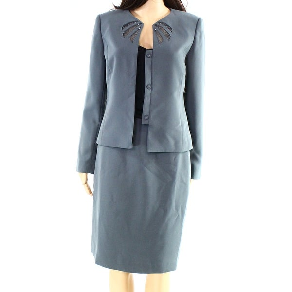 dc8f531903a2 Shop Tahari by ASL NEW Gray Womens 4 Lace Trim Embellished Skirt Suit Set -  Free Shipping Today - Overstock - 18659300