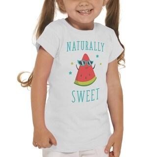 Naturally Sweet Cute Watermelon Girl's White T-shirt