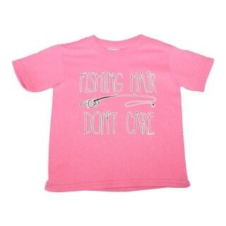 "Little Girls Pink ""Fishing Hair Don't Care"" Short Sleeve Cotton T-Shirt"