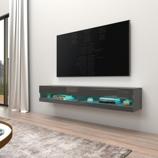 Link to Vigo 180 Wall-mount Floating 71-in. TV Stand w/ 16-color LED Similar Items in TV Stands & Entertainment Centers