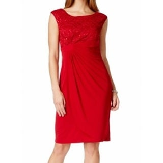Connected Apparel NEW Red Sequin Women's 8 Lace Faux-Wrap Sheath Dress