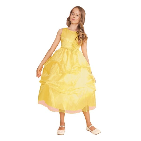 2e68ba99097 Calla Collection Little Girls Yellow Pick-Up Bubble Flower Girl Dress.  Click to Zoom