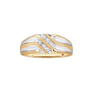 10k Yellow Gold Round Natural Diamond 2-row Mens Masculine 2-tone Wedding Band 1/7 Cttw - White