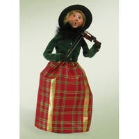 "13"" Decorative Musical Family Woman with Violin Christmas Table Top Figure - Green"