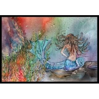 Carolines Treasures 8972JMAT Brunette Mermaid Water Fantasy Indoor or Outdoor Mat, 24 x 36 in.