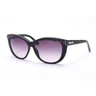 Just Cavalli Women's Cat Eye Sunglasses Black/Snow Leopard - Clear - Small