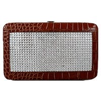 Acrylic Decorated W/ Croco Print Frame Wallet-Brown