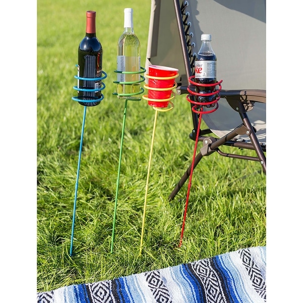Sunnydaze Heavy-Duty Multicolored Outdoor Drink Holder Stakes - Set of 4