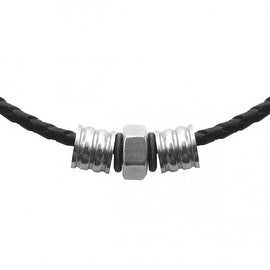 Loralyn Designs Braided Black Leather Necklace with Steel Industrial Bead Detail