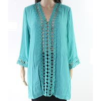 Myang Teal Green Womens Size Medium M Crochet Insert Cover-Up