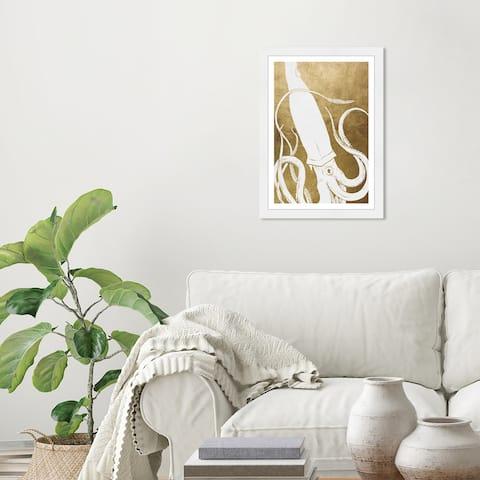 Wynwood Studio 'Ink Squid Gold' Nautical and Coastal White Wall Art Framed Print