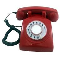 Rotary Single Line Desk Phone - Red