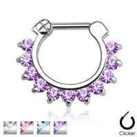 Single Line Pronged Gems 316L Surgical Steel Septum Clicker (Sold Ind.)