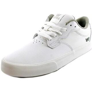 Supra Axle Men Round Toe Leather White Skate Shoe
