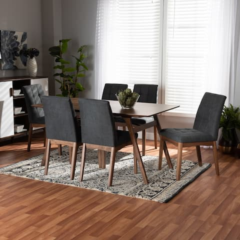 Tara Mid-Century Upholstered and Walnut Finished 7-Piece Dining Set