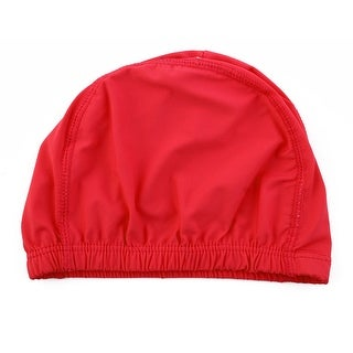 Polyester Dome Shaped Water Resistant Stretchable Swimming Cap Bathing Hat Red