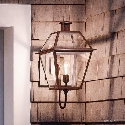 "Luxury Historic Outdoor Wall Light, 20.5""H x 9.5""W, with Tudor Style, Antique Gas Lantern Design, Rustic Copper Finish"