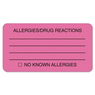Allergies/Drug Reaction Labels- 3-1/4 x 1-3/4- Fluor Pink- 250/Roll