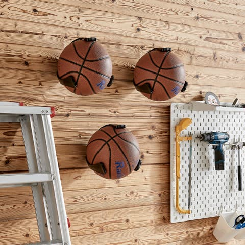 Wall Mount Ball Holder and Organizer for Basketballs - Set of 3