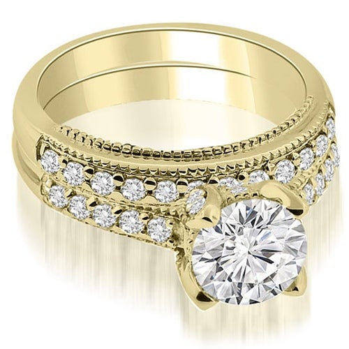 1.00 cttw. 14K Yellow Gold Cathedral Milgrain Round Cut Diamond Bridal Set