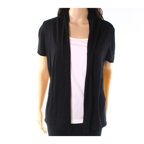 f2997143423e82 Shop August Silk Deep Black Womens Size Small S Solid Cardigan Sweater - On  Sale - Free Shipping On Orders Over  45 - Overstock - 27409043