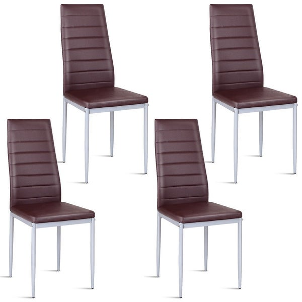 Costway Set of 4 PU Leather Dining Side Chairs Elegant Design Home Furniture Brown
