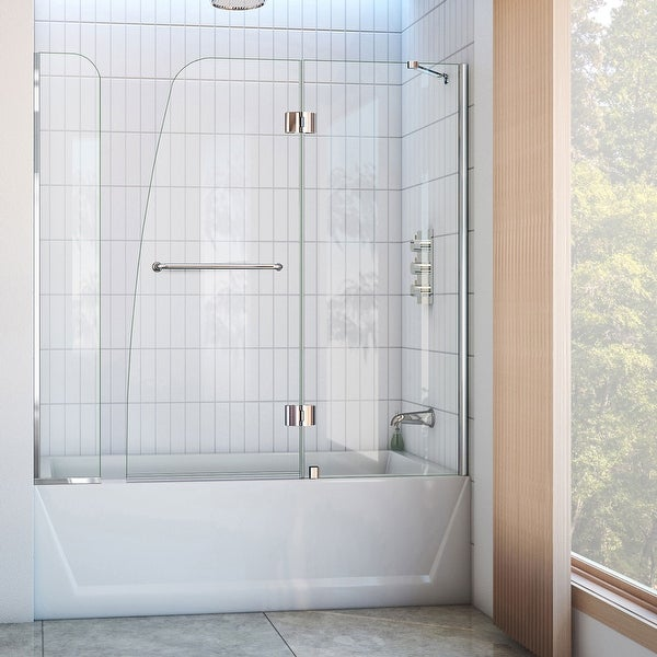 """DreamLine Aqua 56-60 in. W x 58 in. H Hinged Tub Door with Extender Panel - 56"""" - 60"""" W - 56"""" - 60"""" W. Opens flyout."""